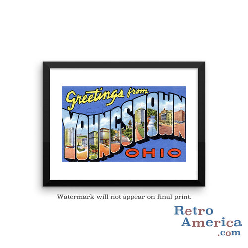 Greetings from Youngstown Ohio OH Postcard Framed Wall Art
