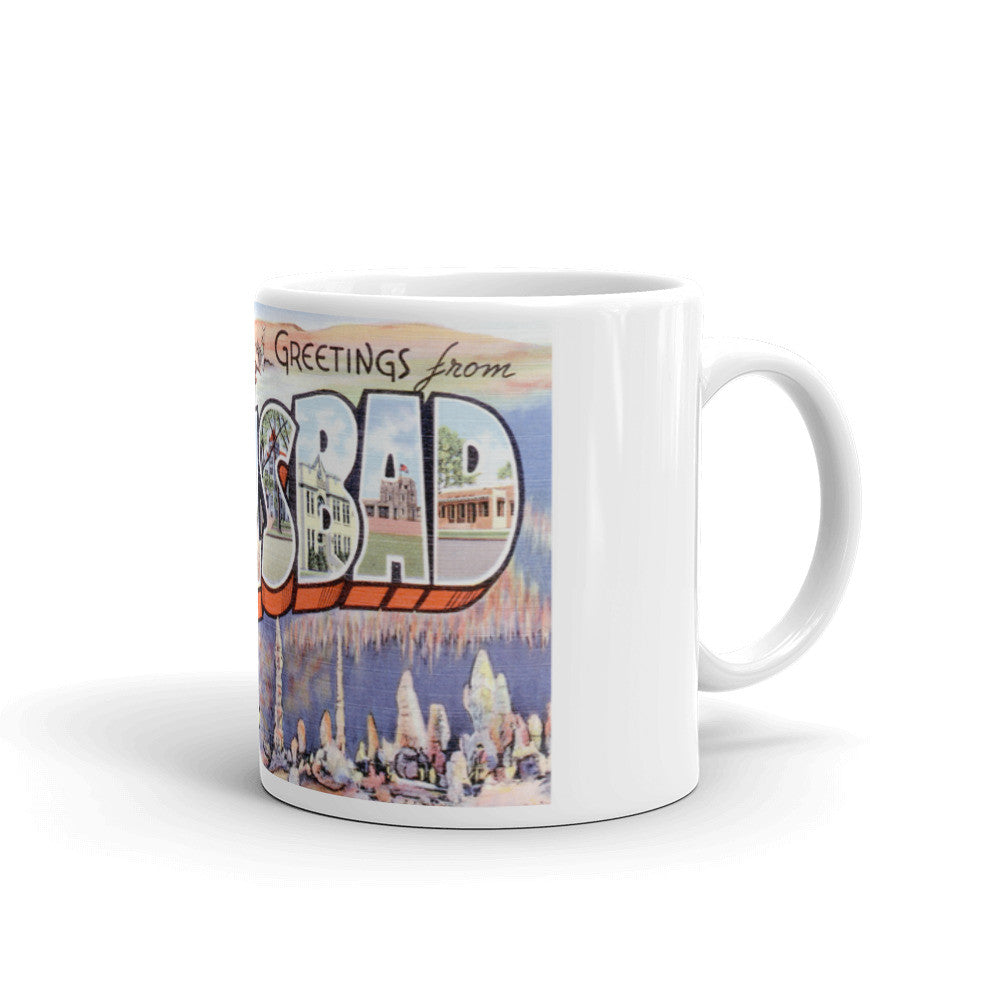 Greetings from Carlsbad New Mexico Unique Coffee Mug, Coffee Cup
