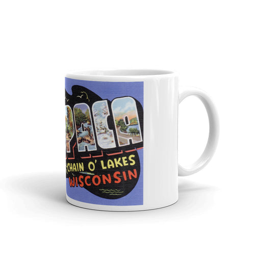 Greetings from Waupaca Wisconsin Unique Coffee Mug, Coffee Cup