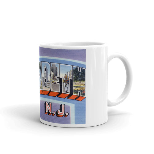 Greetings from Elizabeth New Jersey Unique Coffee Mug, Coffee Cup