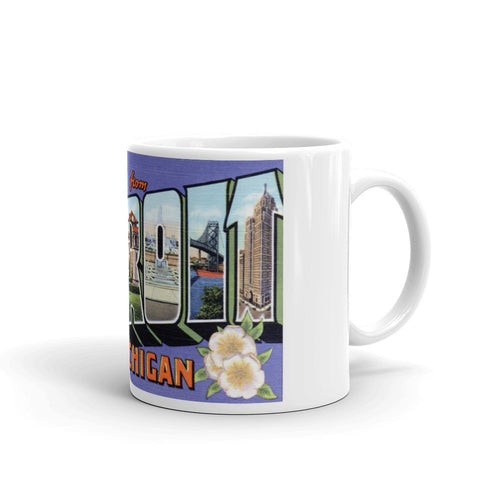 Greetings from Detroit Michigan Unique Coffee Mug, Coffee Cup 1