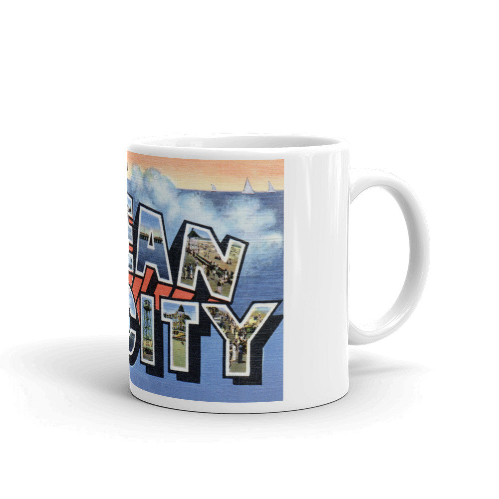Greetings from Ocean City Maryland Unique Coffee Mug, Coffee Cup