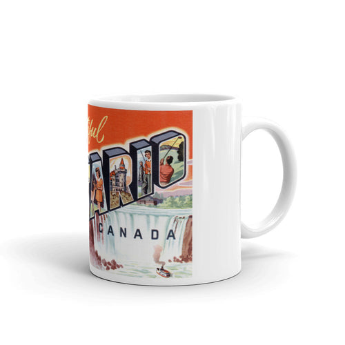 Greetings from Ontario Canada Unique Coffee Mug, Coffee Cup