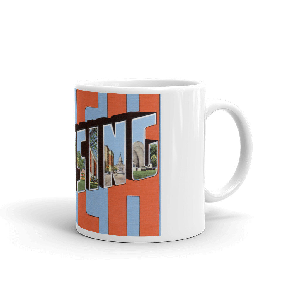Greetings from Lansing Michigan Unique Coffee Mug, Coffee Cup