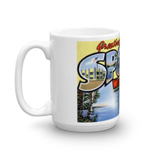 Greetings from Spooner Wisconsin Unique Coffee Mug, Coffee Cup
