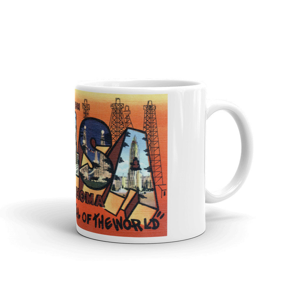 Greetings from Tulsa Oklahoma Unique Coffee Mug, Coffee Cup