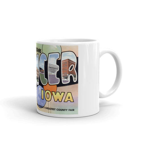 Greetings from Spencer Iowa Unique Coffee Mug, Coffee Cup
