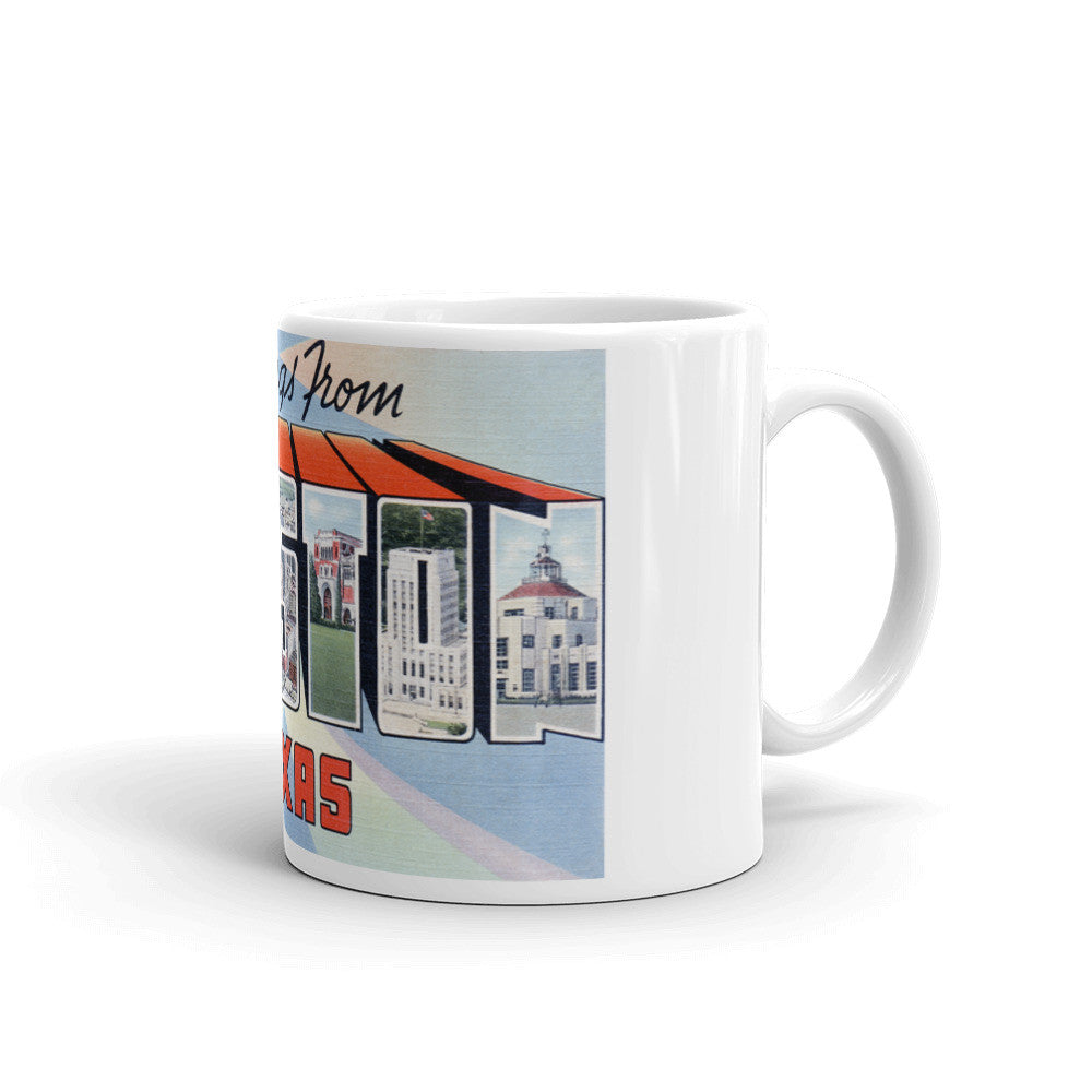 Greetings from Houston Texas Unique Coffee Mug, Coffee Cup 1