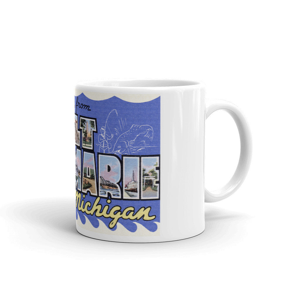 Greetings from Sault Ste Marie Michigan Unique Coffee Mug, Coffee Cup