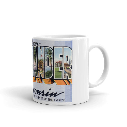 Greetings from Rhinelander Wisconsin Unique Coffee Mug, Coffee Cup