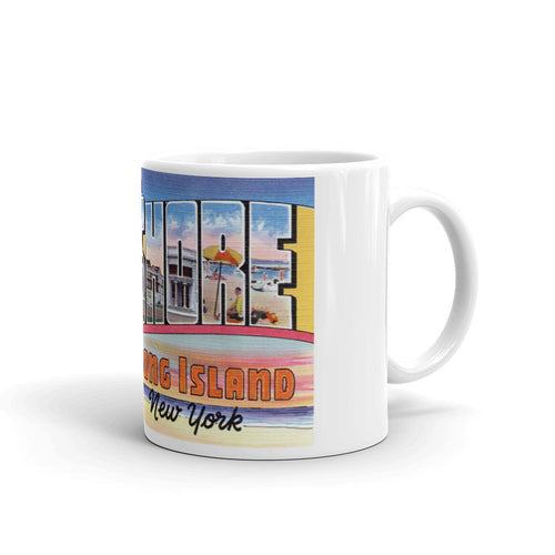 Greetings from Bay Shore Long Island New York Unique Coffee Mug, Coffee Cup