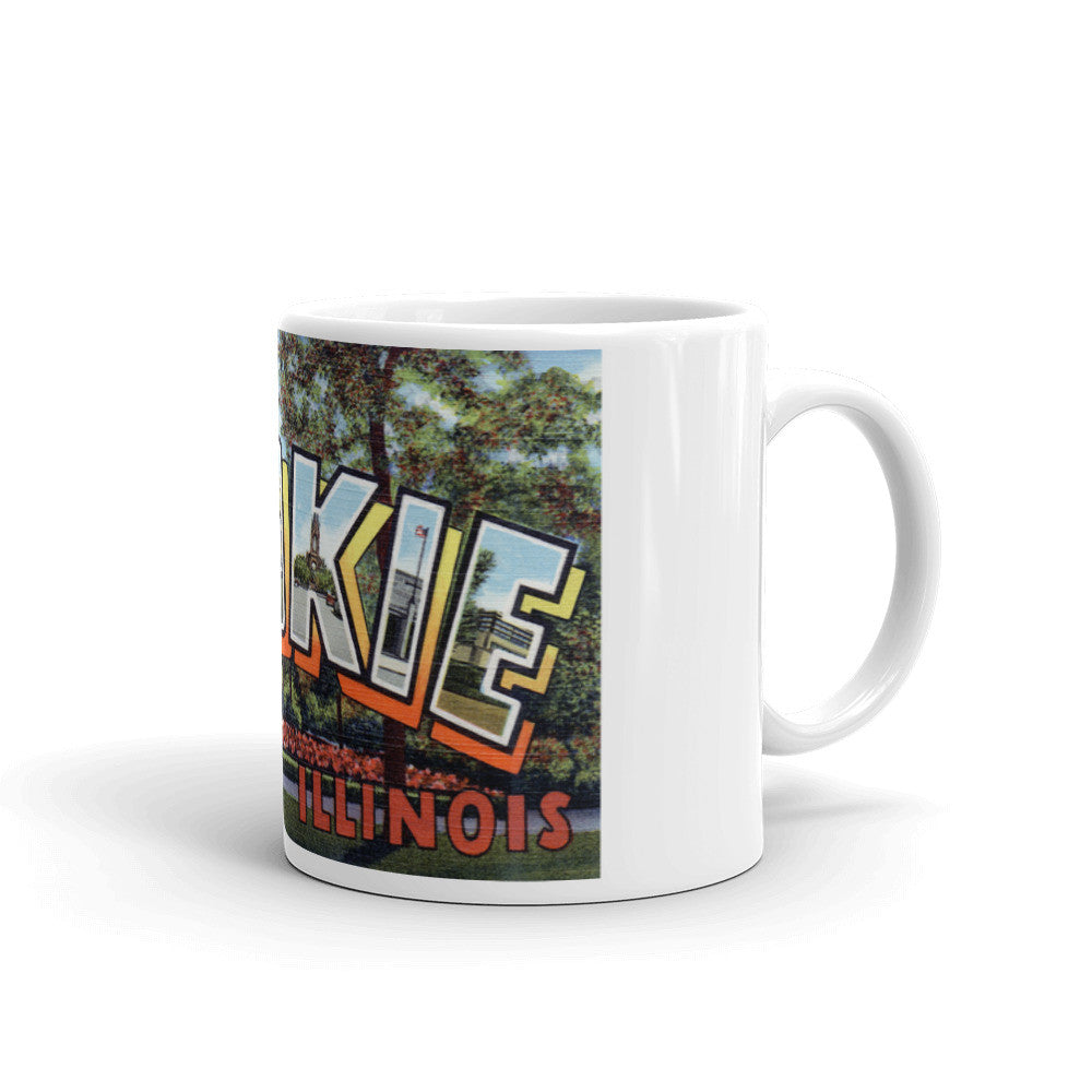 Greetings from Skokie Illinois Unique Coffee Mug, Coffee Cup
