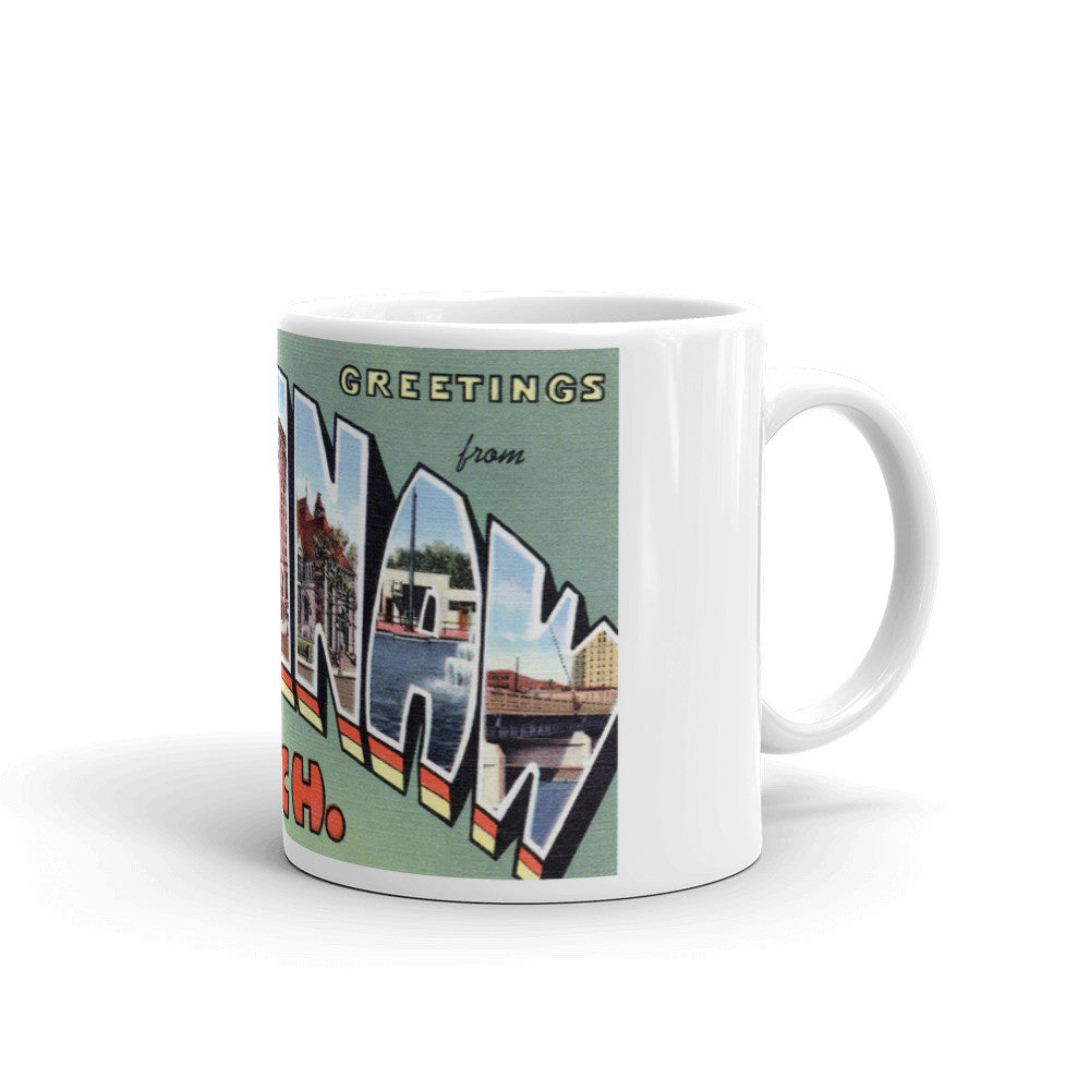 Greetings from Saginaw Michigan Unique Coffee Mug, Coffee Cup