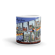 Greetings from Chapel Hill North Carolina Unique Coffee Mug, Coffee Cup