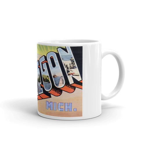 Greetings from Muskegon Michigan Unique Coffee Mug, Coffee Cup