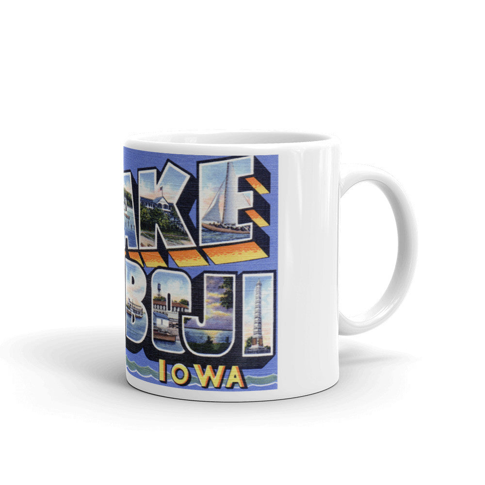 Greetings from Lake Okoboji Iowa Unique Coffee Mug, Coffee Cup