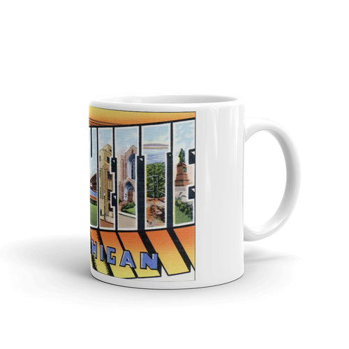 Greetings from Marquette Michigan Unique Coffee Mug, Coffee Cup