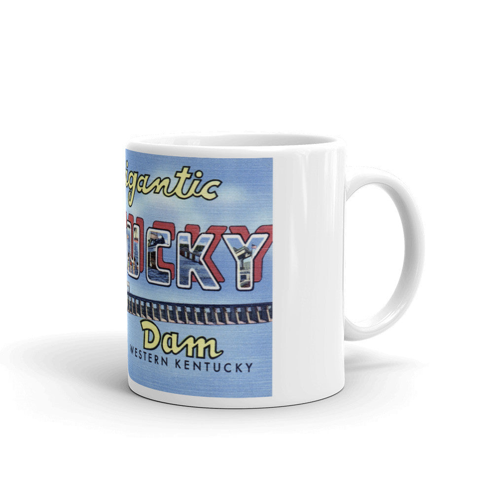 Greetings from Gigantic Kentucky Dam Kentucky Unique Coffee Mug, Coffee Cup