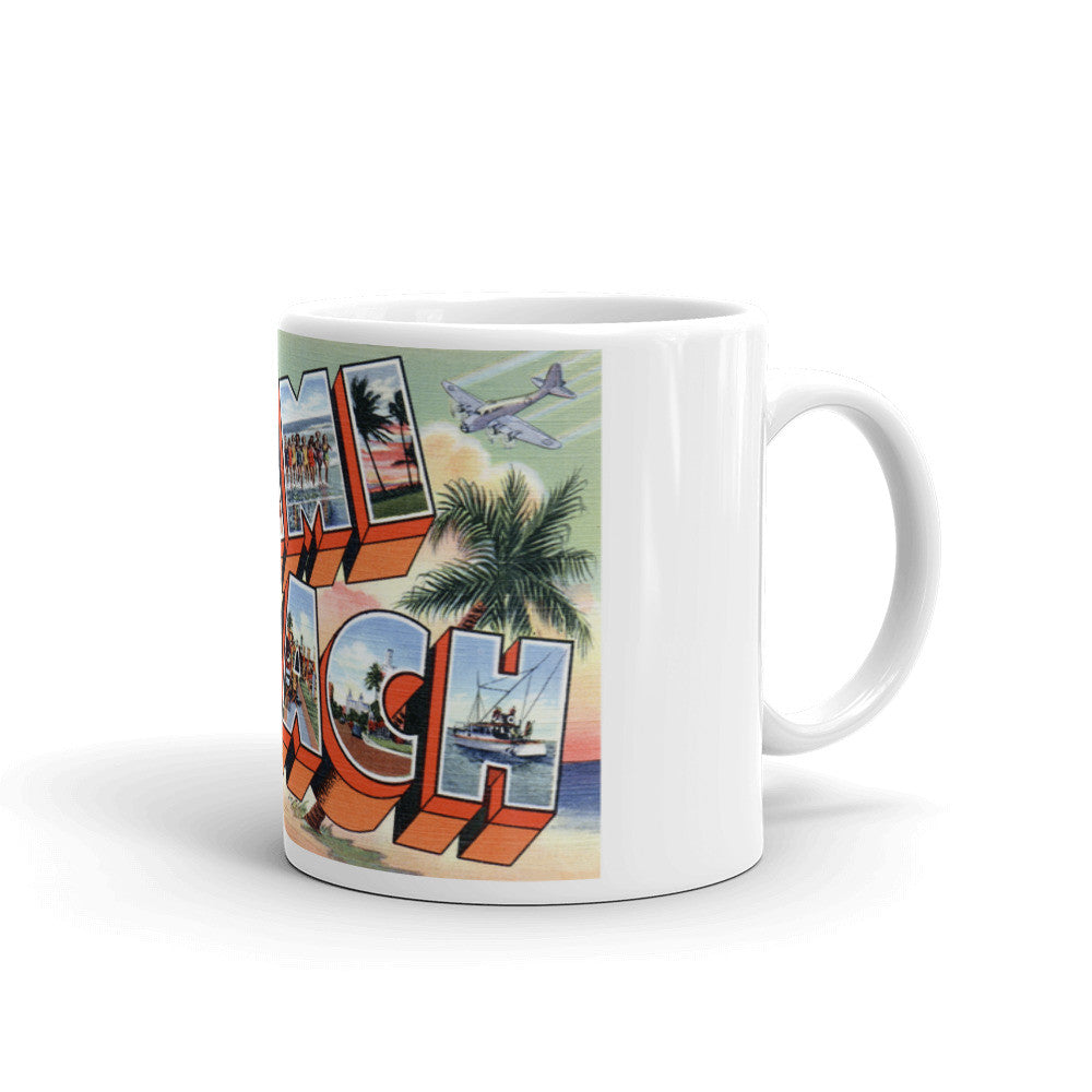 Greetings from Miami Beach Florida Unique Coffee Mug, Coffee Cup 1