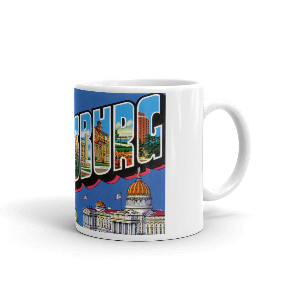 Greetings from Harrisburg Pennsylvania Unique Coffee Mug, Coffee Cup