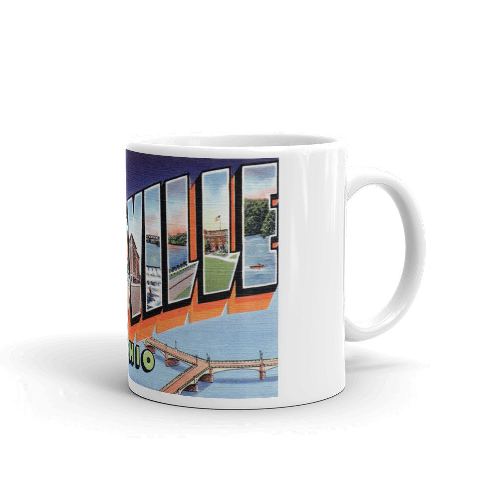 Greetings from Zanesville Ohio Unique Coffee Mug, Coffee Cup