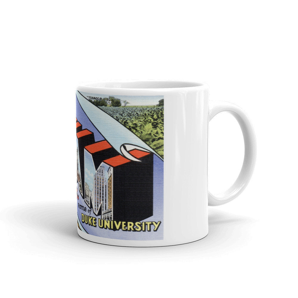 Greetings from Durham North Carolina Unique Coffee Mug, Coffee Cup
