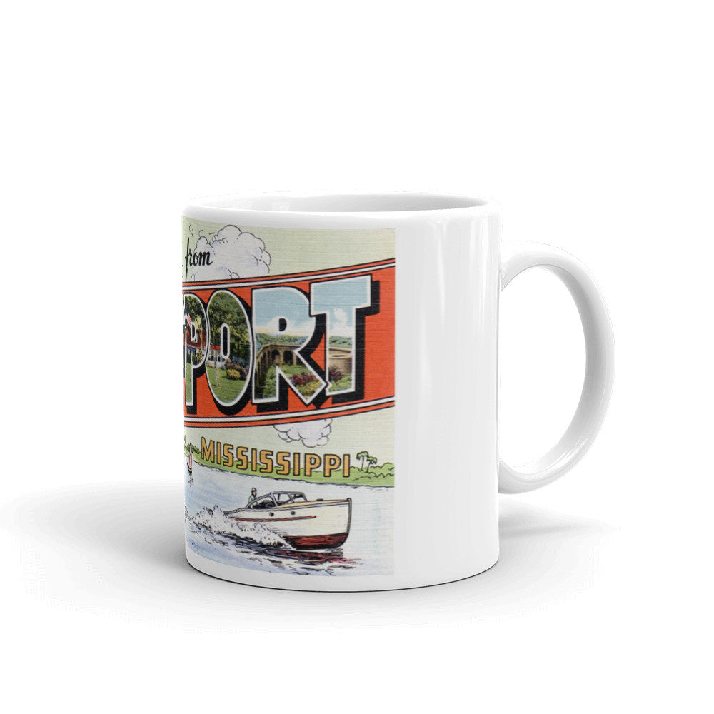 Greetings from Gulfport Mississippi Unique Coffee Mug, Coffee Cup