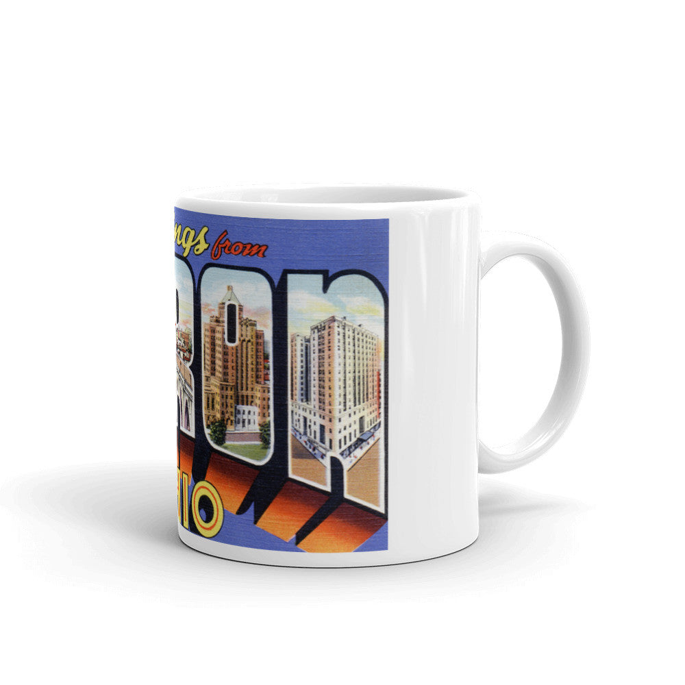 Greetings from Akron Ohio Unique Coffee Mug, Coffee Cup