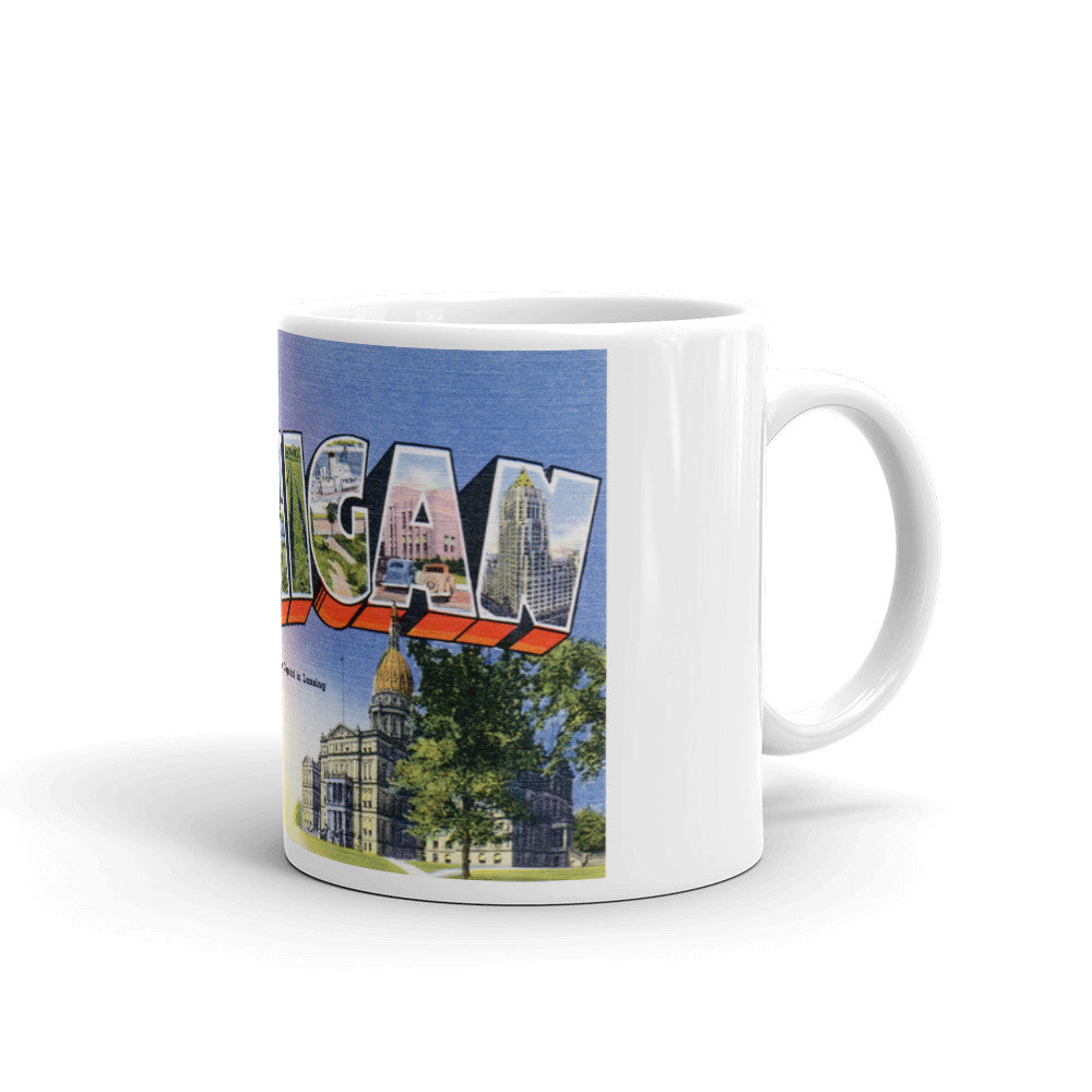 Greetings from Michigan Unique Coffee Mug, Coffee Cup 1