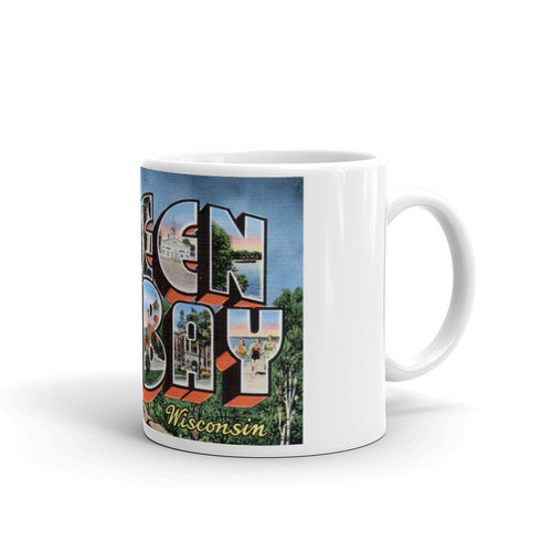 Greetings from Green Bay Wisconsin Unique Coffee Mug, Coffee Cup