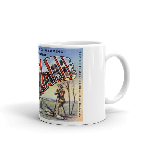 Greetings from Laramie Wyoming Unique Coffee Mug, Coffee Cup