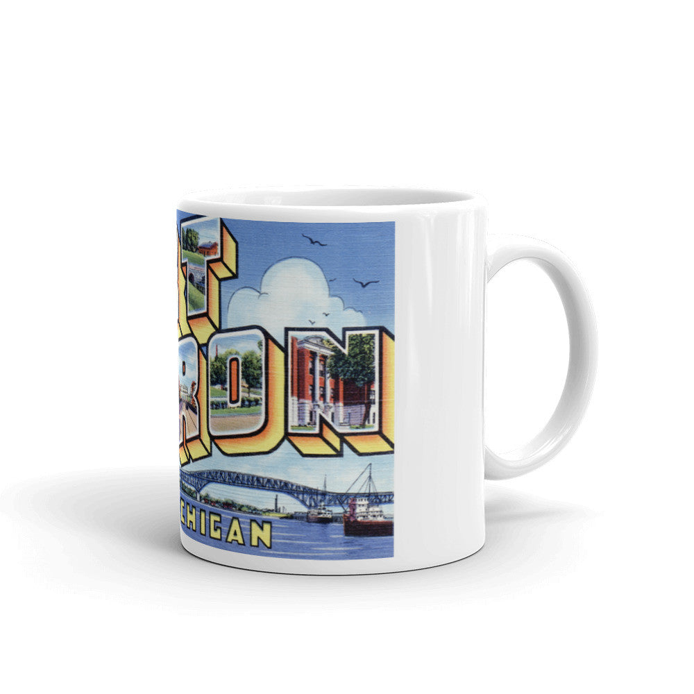 Greetings from Port Huron Michigan Unique Coffee Mug, Coffee Cup