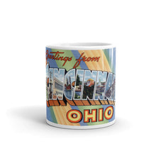Greetings from Cincinnati Ohio Unique Coffee Mug, Coffee Cup