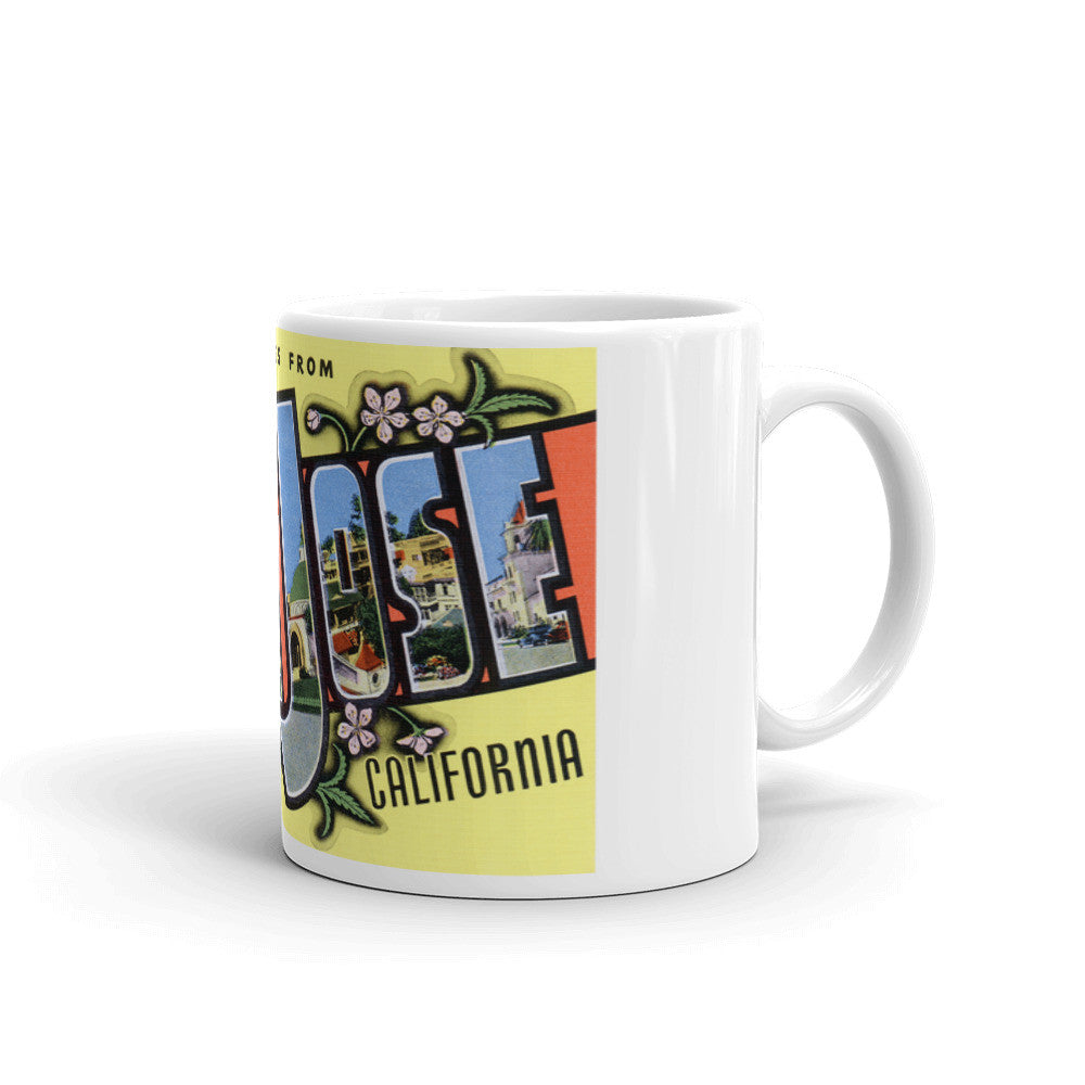 Greetings from San Jose California Unique Coffee Mug, Coffee Cup