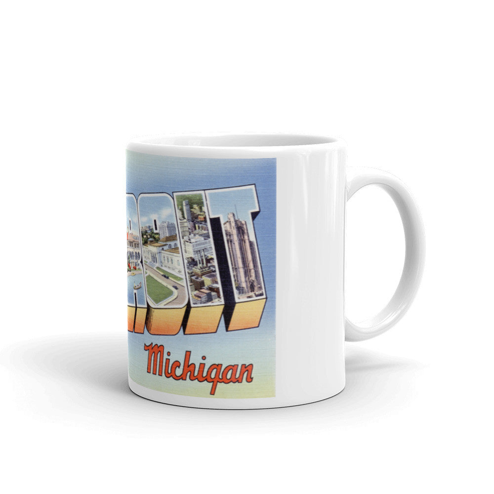 Greetings from Detroit Michigan Unique Coffee Mug, Coffee Cup 2