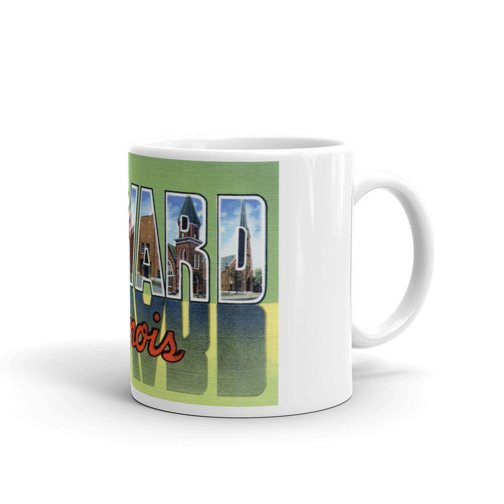 Greetings from Harvard Illinois Unique Coffee Mug, Coffee Cup