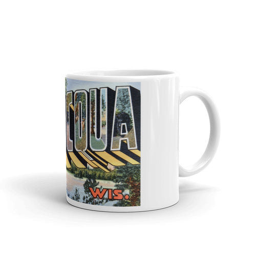 Greetings from Minocqua Wisconsin Unique Coffee Mug, Coffee Cup