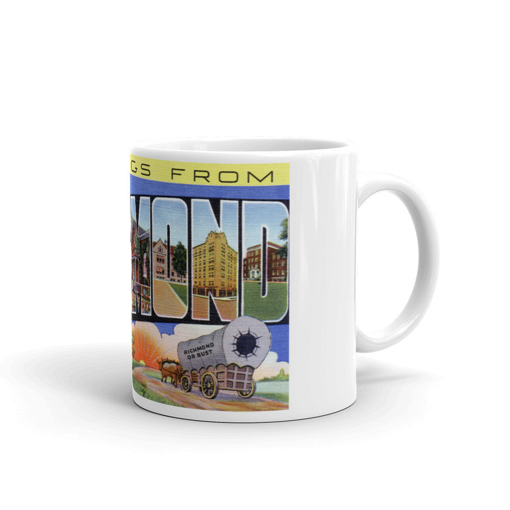 Greetings from Richmond Indiana Unique Coffee Mug, Coffee Cup