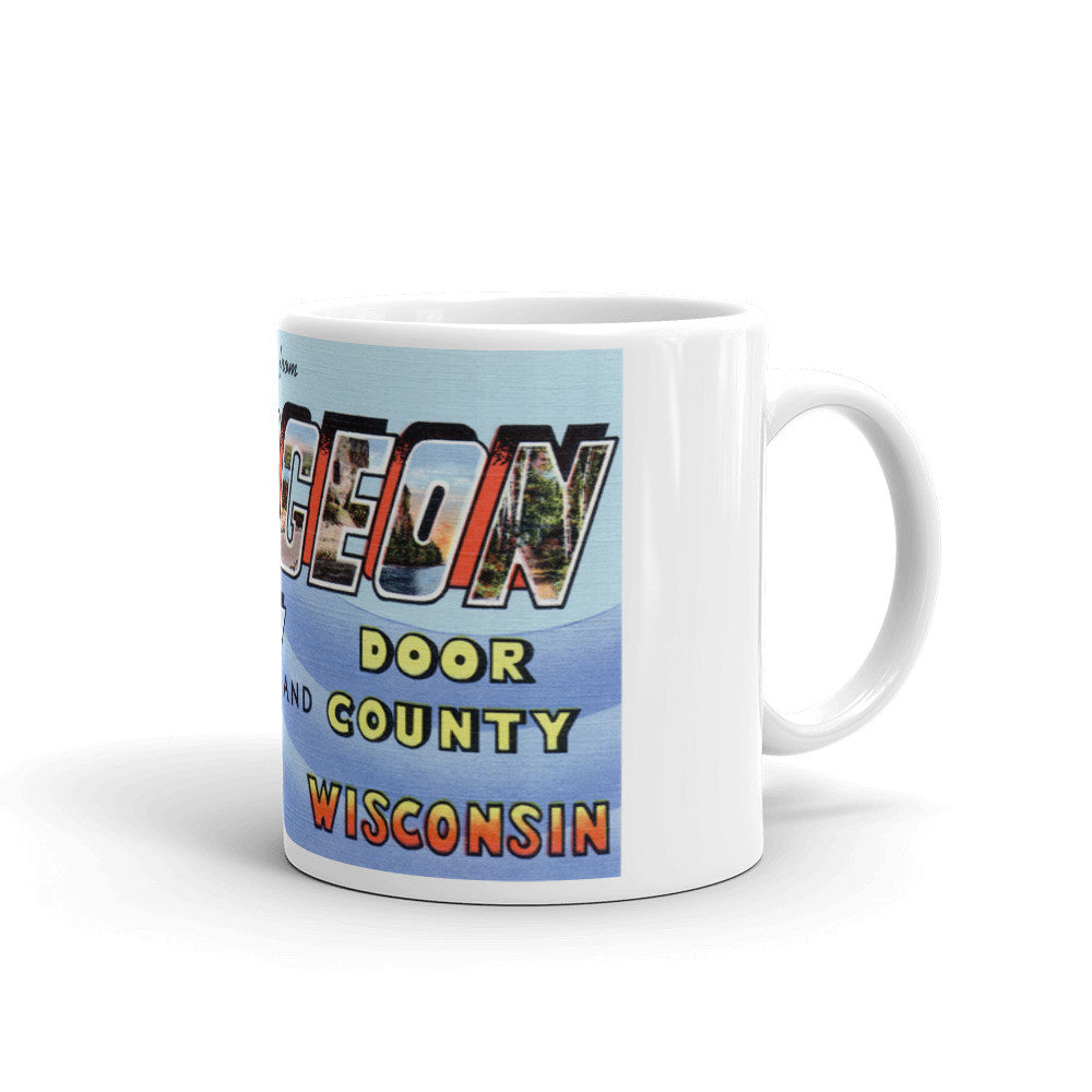Greetings from Sturgeon Bay Wisconsin Unique Coffee Mug, Coffee Cup