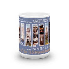 Greetings from Annapolis Maryland Unique Coffee Mug, Coffee Cup