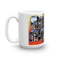 Greetings from Geneva On The Lake Ohio Unique Coffee Mug, Coffee Cup