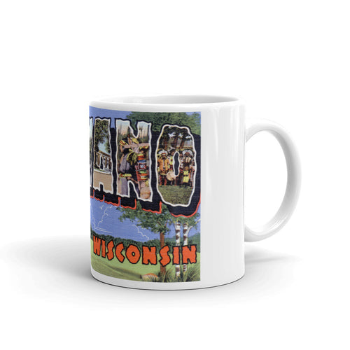 Greetings from Shawano Wisconsin Unique Coffee Mug, Coffee Cup