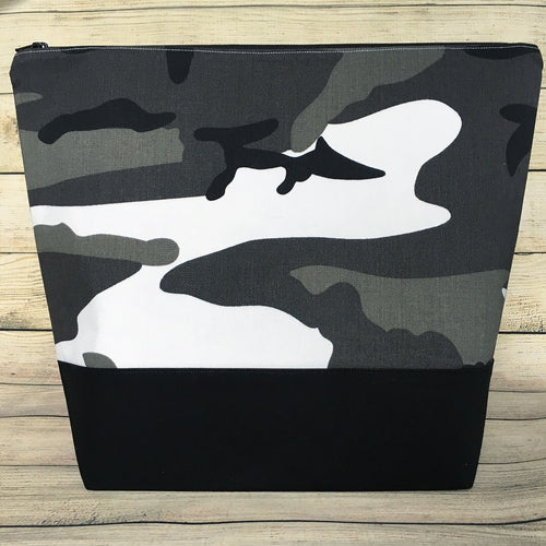 SALE - MEDIUM Winter Camo Project Bag