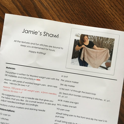 Jamie's Shawl Pattern by Cozy Up Knits - Hard Copy & Digital Download Code Included