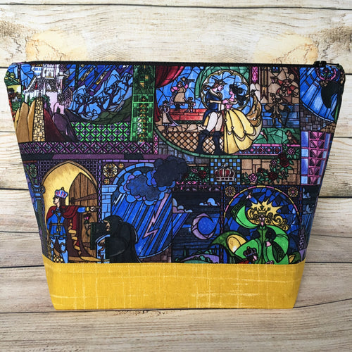 SMALL Beauty & the Beast Project Bag - Rose Interior
