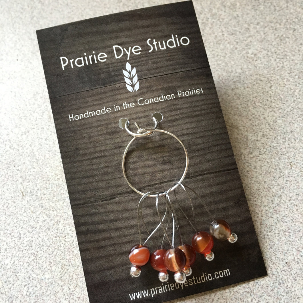 MEDIUM Agate Snagless Stitch Markers - Set of 6