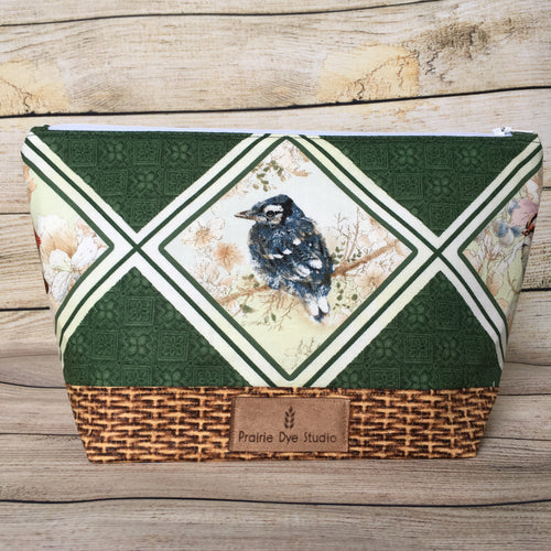 SMALL Bird Project Bag w/handle - Blue Jay