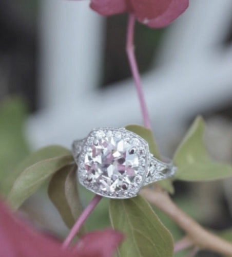 2.59 Ct Antique Edwardian Style PLATINUM Engagement Ring