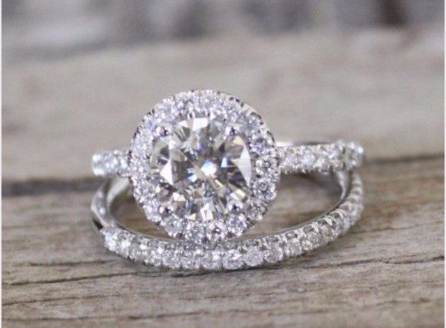 1.40 Ct Round Halo w/ Round GENUINE Diamond Engagement Ring SI1 E-F
