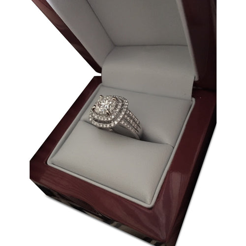 3.15 Ct Triple Shank Double Halo Engagement Ring